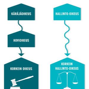 Infografiikka kahdesta eri oikeushaarasta
