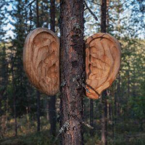 Puiset korvat kiinnitettynä puuhun