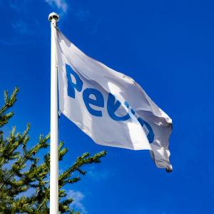 Pellon lippu liehuu Pellon kyläraitilla keäisessä päivässä