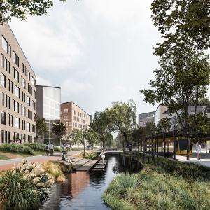 En visualisering av ett bostadsområde i Åbo. Till vänster en metro, och genom bostadsområdet löper en kanal/vattendrag. Till höger och vänster olika bostadshus. På bilden finns också flera olika människor och cyklister.