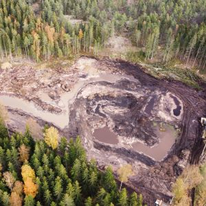 Flygbild av våtmark i Täktom i Hangö som byggs under WWF:s RANKKUprojekt för att minska utsläppen i Östersjön.