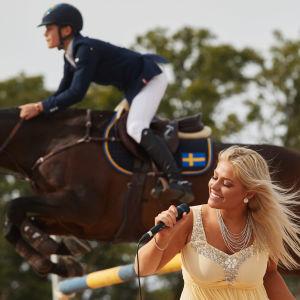 Klara Hammarström sjunger. I bakgrunden rider hennes bror Ingemar Hammarström.