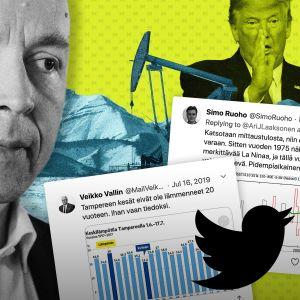 Kollaasi Jussi Halla-Ahosta, Donald Trumpista, öljynporausasemasta ja Twittertwiiteistä, jotka kyseenalaistavat ilmastonmuutosta.