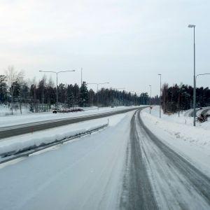Vinterföre på Vasa motorväg