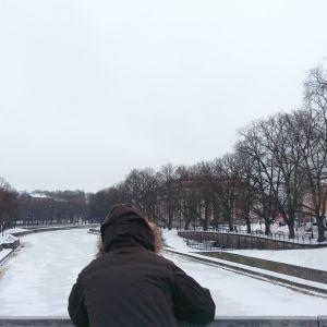 En person i vinterrock står vid Domkyrkobron och tittar ner i Aura å.
