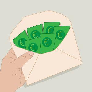 Kuvert fylld med sedlar.