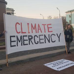 Klimatdemonstration i Ryssland.