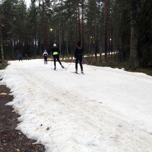 hiihtäjiä ladulla