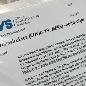 Oulun yliopistollisen sairaalan infektio-osaston 42 ohjeet koronavirus epäilyn varalle.