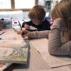 koululaisia etäopiskelemassa kotona