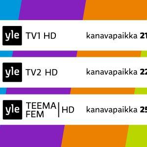 Planssi missä näkyy HD-kanavien kanavapaikat. Yle TV1 kanavapaikka 21, Yle TV2 kanavapaikka 22, Yle Teema/Fem kanavapaikka 25.