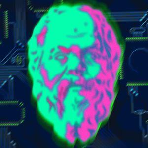 Illustration av Sokrates huvud i neonfärg på ett kretskort.