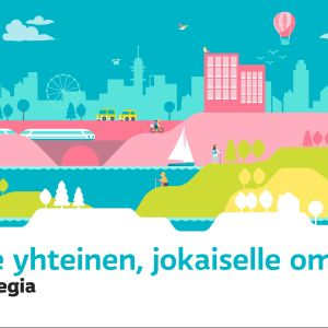 The sharing image for Yle's strategy. An illustrated landscape - below it the text in Finnish: Kaikille yhteinen, jokaiselle oma. Ylen strategia