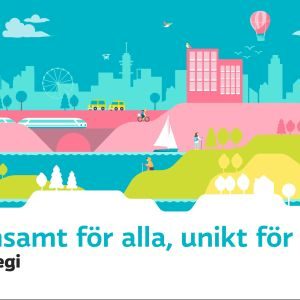 The sharing image for Yle's strategy. An illustrated landscape - below it the text in Swedish:  Gemensamt för alla, unikt för mig. Yles strategi.