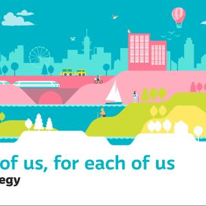The sharing image for Yle's strategy. An illustrated landscape - below it the text in English:  For all of us, for each of us. Yle's Strategy.