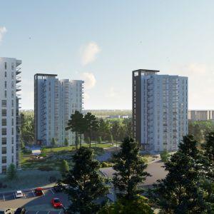Havainnekuva kolmesta tornitalosta Kokkolan Pikiruukissa.