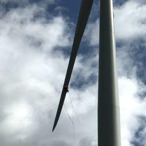 Mies tekee huoltohommia tuulivoimalan siivessä roikkuen köysien avulla