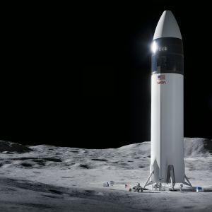 En illustration över rymdfarkosten som ska landa på månen 2024. Farkosten är en del av Nasas projekt Artemis.