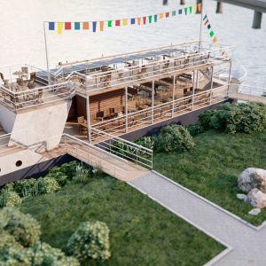 Havainnekuva Ouluun Vännmannin saaren rantaan kesällä 2021 tulevasta ravintolaiva Bootista.