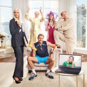Bild på tv-serien Solsidans huvudkaraktärer.