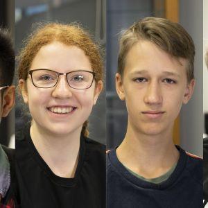Et-oppilaat Tada Mungboon, Ella Hellström, Oliver Härkönen ja Niilo Snell.