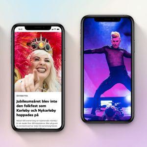 Tre olika mobilskärmar som visar reportage samt artister.
