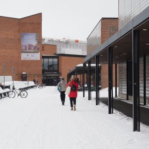 Itä-Suomen yliopiston opiskelijoita koulun pihakäytävällä.