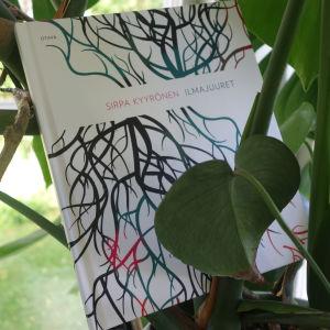 Sirpa Kyyrösen runoteos Ilmajuuret on Peikonlehti -kasvin ympäröimänä