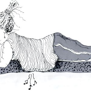 piirros jossa nainen lankuttaa maha maassa