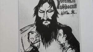 Teckning av tsarparet i Rasputins famn