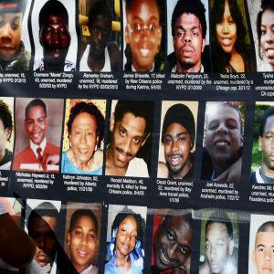 Bilder på personer dödade av polis i USA de senaste åren, augusti 2015.