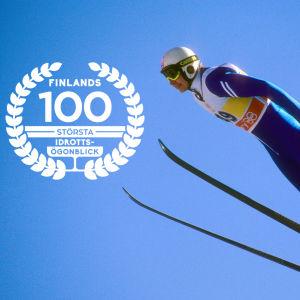 Matti Nykänen, med logon för Finlands 100 största idrottsögonblick.