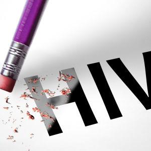 Suddgummi som suddar ut ordet HIV.