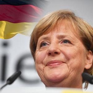 Angela Merkel. Tysklands flagga har redigerats in i bakgrunden.