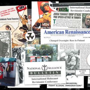 Kollage av nynazistiska texter, flyers och symboler.