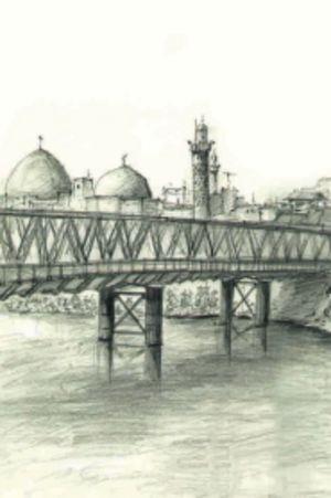 Bro över Tigris i Mosul. Arkitektritning av Amer Alazawi, detalj ur stort panorama.