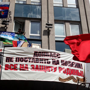 Proryska banderoller i Luhansk den 18 april 2014