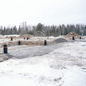 byggplats en snöig dag