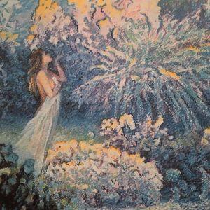 En målning av en kvinna som doftar på blåa buskar.