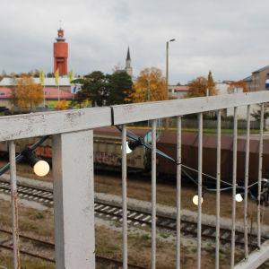 utsikt över vattentorn och Hangö centrum