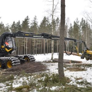En skogsmaskin i skogen