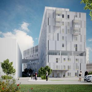 Visualisering av det nya H-huset på Vasa centralsjukhus område.