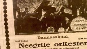 Ett gammalt estniskt tidningsurklipp där det står att Neegrite orkester uppträdde i Pärnu.