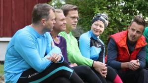 Mitt triathlon gänget och programledaren Jontti Granbacka