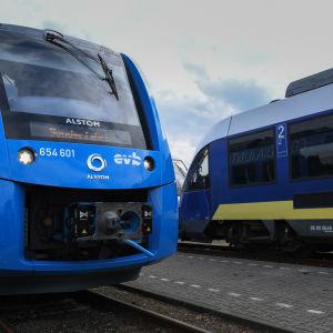 Sininen juna, jonka keulassa Alstomin logo.