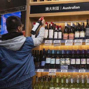 Australienska viner i en butik i Shanghai