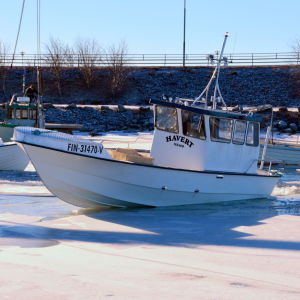Fiskebåtar agerar isbrytare