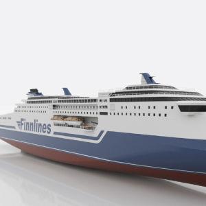 En bild av Finnlines kommande fartyg. Fartyget är vitt med blå logotyp och har ett mer strömlinjeformat utseende i fören.