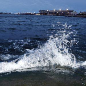 En stormvåg vid Eira strand i Helsingfors.