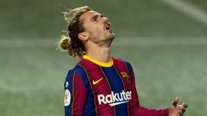 Barcelonas Antoine Griezmann skriker ut sin frustration.